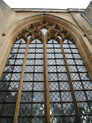 tall arching windows of a cathedral in England