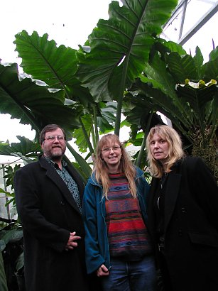 three people standing in a botanic garden near Oxford, England