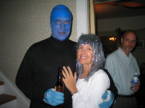 halloween costumes of blue man and glittery woman