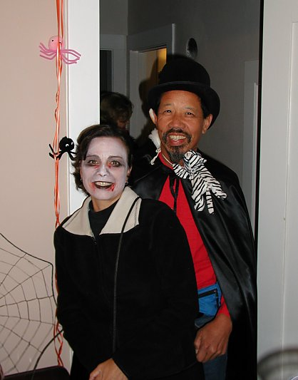 halloween costume of vampire and magician naked