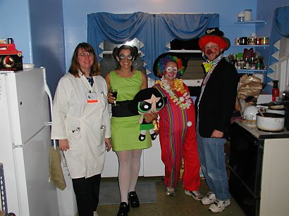 halloween costumes, lab worker, powder puff girl, two clowns