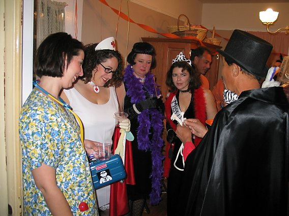 halloween costumes: nurse, old socialite, miss demeanor, and magician doing a rope trick