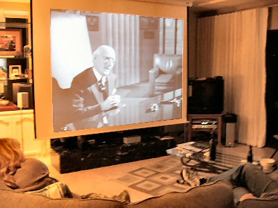 citizen kane showing on the projection tv home theater