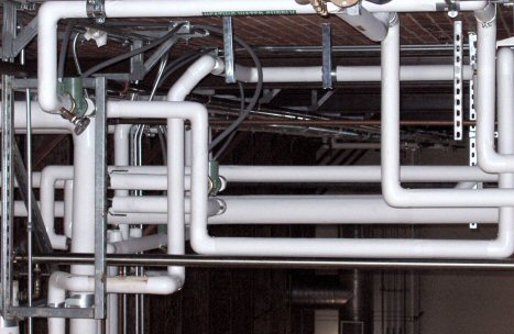 white pipes in an industrial factory naked