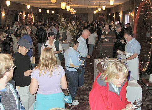 inside Paul Masson winery, filled with people
