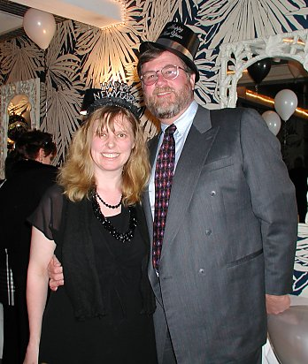 Jim and Angela in New Year's Eve Hats