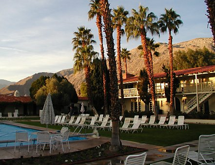 The Palms at Palm Springs swimming pool and courtyard