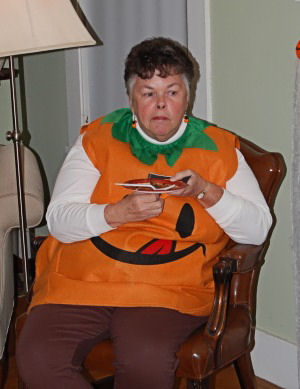woman in full body pumpkin costume