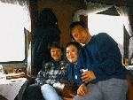 Kae, Suzanna, Danny on a train in China