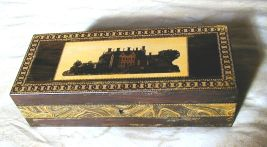 Marquetry box with a house on the lid