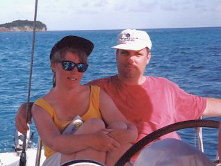 Dana and Doug relaxing in the cockpit of the yacht